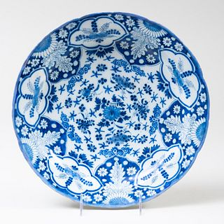 Dutch Delft Charger Decorated with Flowers