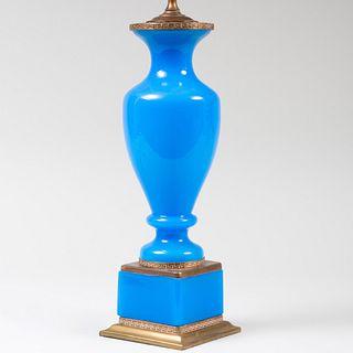 Brass Mounted Blue Opaline Glass Lamp
