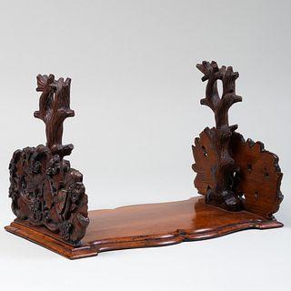 Rustic English Carved Wood Bookrack