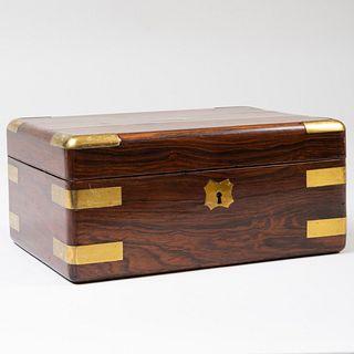 English Brass Mounted Rosewood Correspondence Box