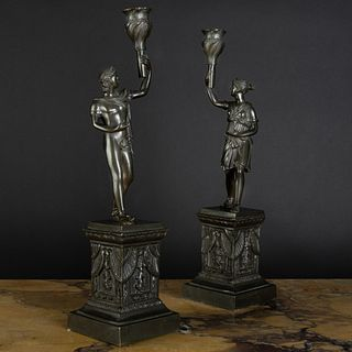 Pair of Bronze Figural Candlesticks, After the Antique