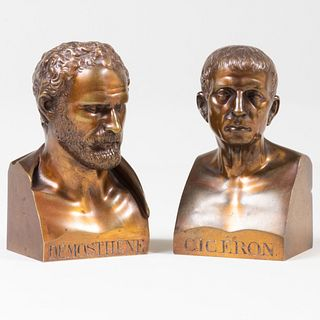 Two Brass Busts of Cicéron and Démosthène