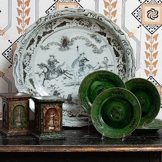 Pair of Huntly and Palmer Faux Marble Pedestal Form Biscuit Tins