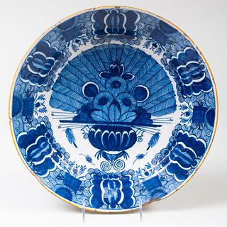 Dutch Delft Charger with Peacock Decoration