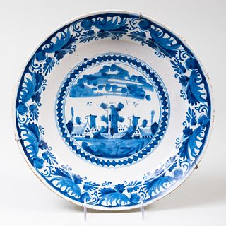 Dutch Blue and White Delft Charger Decorated with a Church