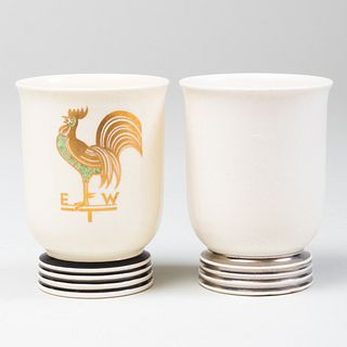 Two Keith Murray for Wedgwood Porcelain Demitasse Cups