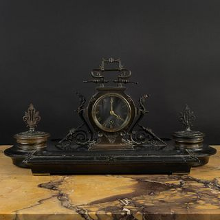 Napoleon III Bronze and Marble Inkstand, Pen Tray and Clock