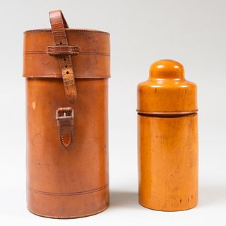 Deutsches Reichsgebrauchsmuster Thermos in a Leather Case and a G. Oldham Dublin Turned Pear Wood Apothecary Container