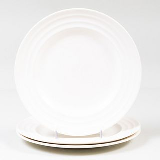 Set of Three Keith Murray for Wedgwood White Glazed 'Moonstone' Dinnerplates