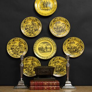 Group of Six French Yelloware Plates