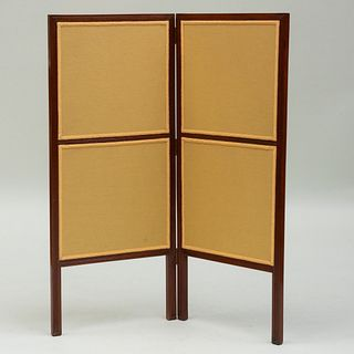 English Two Panel Carved Mahogany and Baise Upholstered Screen