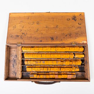 Set of Rubber Printing Stamps in a Wood Case