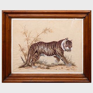 Chinese Silkwork Picture of a Tiger in a Landscape