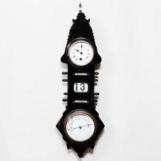Ebonized Wood Barometer Clock