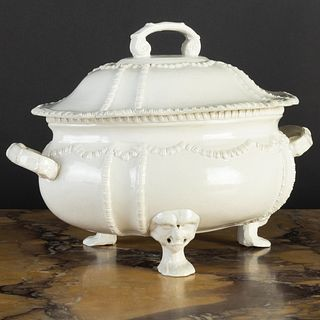 English Salt Glazed Tureen and Cover of Silver Shape