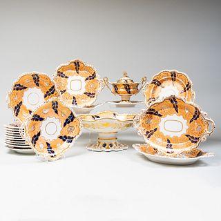 English Peach Ground Porcelain Dessert Service, Probably Coalport