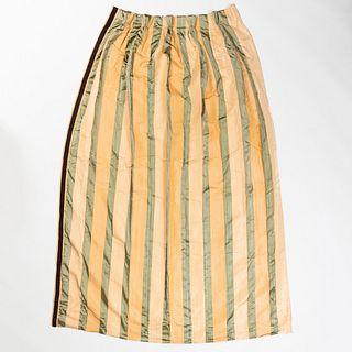 Set of Six Green and Cream Silk Curtains, Michael Tavano
