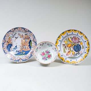 Two Delft Chargers and a Chinese Export Style Bowl