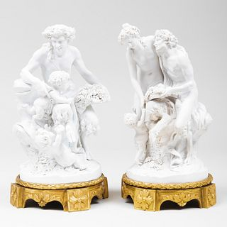 Pair of Continental Biscuit Mythological Figure Groups, After Clodion