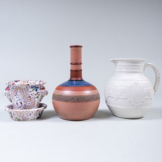 Copeland Molded Pitcher, a Terra Cotta Bottle Vase and a Small Pearlware Jardinere and Underplate