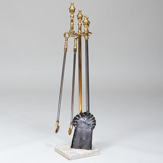 Set of Brass Fire Tools on Marble Base