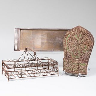 Swid Powell Silver Plate Tray, a Painted Wood Bracket and a Wire Bottle Caddy