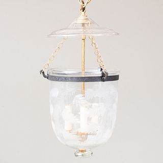 Gilt-Metal and Etched Glass Three-Light Bell-Shaped Lantern and Cover