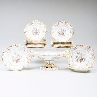 Minton Porcelain Part Dessert Service Decorated En Grisaille