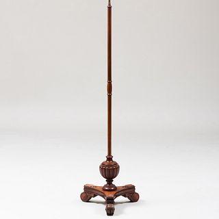 Regency Style Mahogany and Brass Floor Lamp