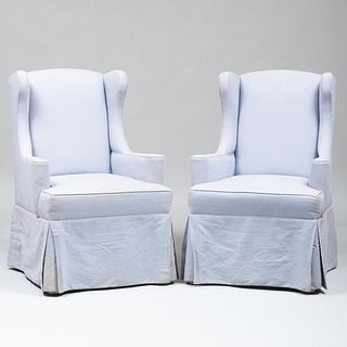 Pair of Pale Blue Linen Upholstered Wing Chairs