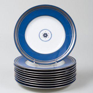 Set of Ten Mintons Blue Ground Plates