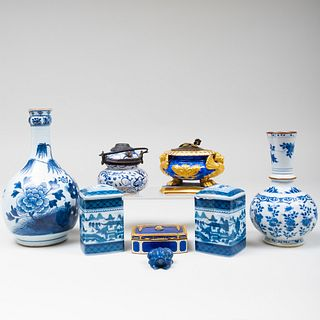 Continental Gilt Enamel Box and a Group of Blue and White Porcelain Articles
