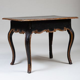 Italian Rococo Painted and Parcel-Gilt Side Table