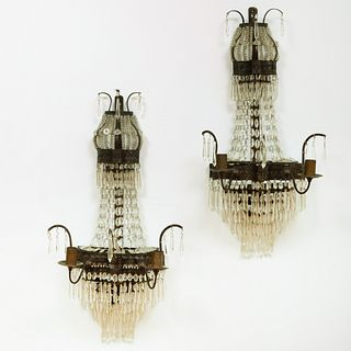 Pair of Cut Glass and Patinated-Metal Two-Light Wall Lights