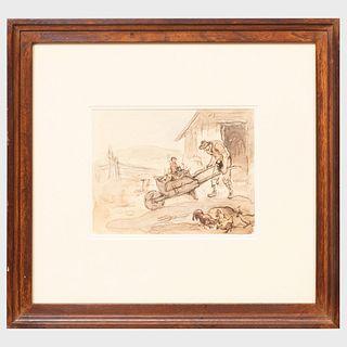 Attributed to Eugene Higgins (1874-1958): The Wheelbarrow Ride