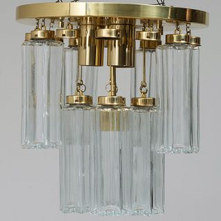 Limburger Brass and Glass '3038' Chandelier, in the Manner of Venini