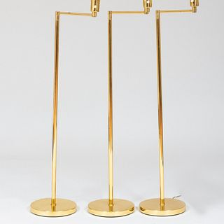 Group of Three Hinson Retractable Brass Standing Lamps