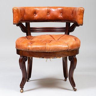Early Victorian Mahogany Leather Upholstered Armchair