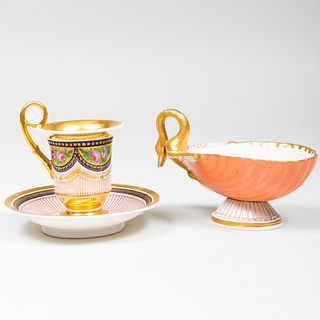 Italian Porcelain Shell Form Sauce Boat and Pink Ground Cabinet Cup and Saucer