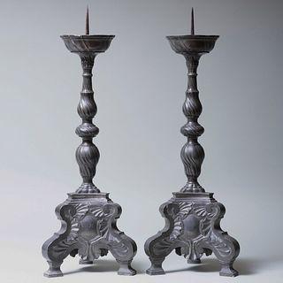 Pair of Baroque Style Cast Metal Pricket Sticks