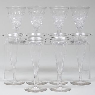 Set of Six English Champagne Flutes and a Set of Four Sherry Glasses