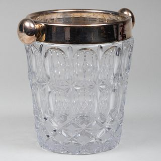 Silver Plate-Mounted Cut Glass Champagne Bucket