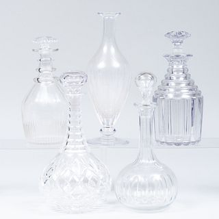 Group of Five Cut Glass Decanters and Four Stoppers