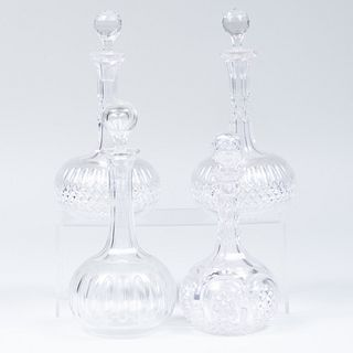 Group of Four English Cut Glass Decanters