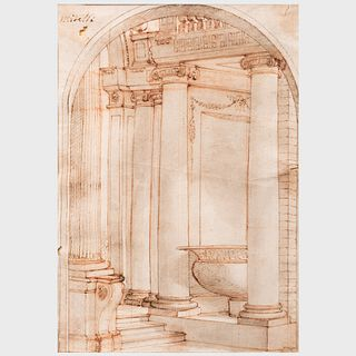 Attributed to Agostino Mitelli (1609-1660): Interior with Columns; and Interior with Window