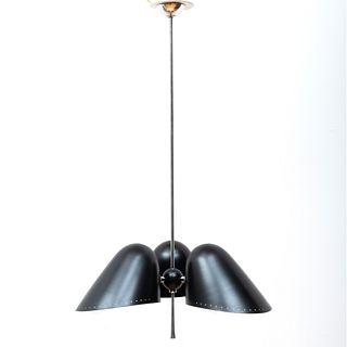 Set of Four Modern Black Enamel and Chrome Three-Light Ceiling Lights