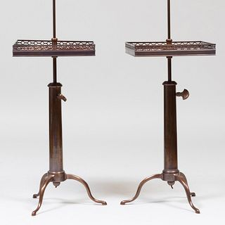 Pair of Brass-Mounted Mahogany Retractable Lamp Tables