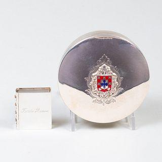 Portuguese Silver and Enamel Box and a Tiffany & Co. Silver Book Form Pill Box