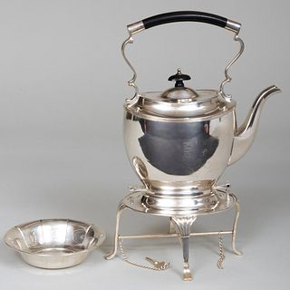 American Silver Plate Hot Water Kettle on Stand and a Silver Bowl