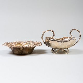 American Silver  Bowl and a Silver Plate Lotus Dish